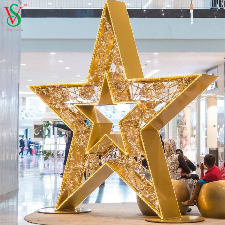 Beste verkauf indoor outdoor shopping mall ramadan festival led dekoration 3d stern string motiv licht