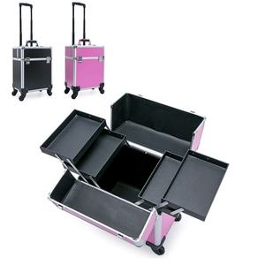Hotsale wasserdicht harte aluminium nagel roll kosmetische box soho make-up fall trolley