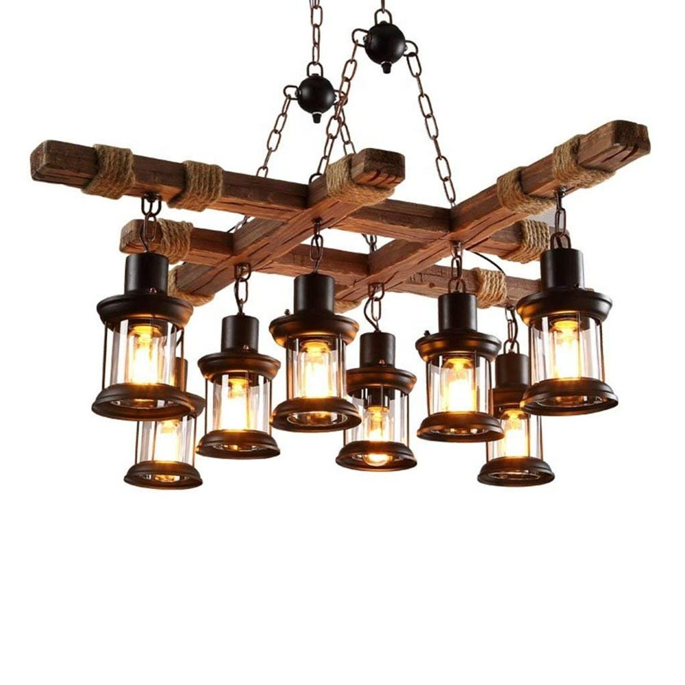 Rustic Vintage boat Hanging Antique loft Chandelier retro Creative lamps Led Wooden home Pendant lights
