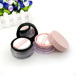 20g Empty Loose Powder Case Facial Blusher Container Jars with Puff Makeup mirror Elastic mesh yarn loose powder container