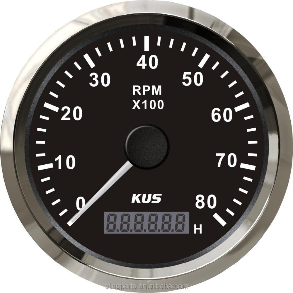 KUS 85mm Moteur Tachymètre Jauge Avec compteur Horaire Bateau <span class=keywords><strong>RPM</strong></span> Compte-Tours 0-8000 <span class=keywords><strong>RPM</strong></span> 12 V/24 V Avec <span class=keywords><strong>R</strong></span>étro-Éclairage