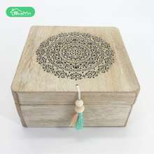 New design small wooden laser cut pattern storage gift box