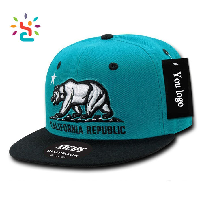 Hit color Snapback Cap with bear 2D embroidery patch California Republic 6 panel two tone baseball cap
