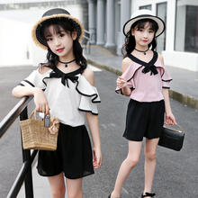 2019 amazon hot sale popular  cute girl fashion chiffon off-shoulder top cute boxe shorts new style