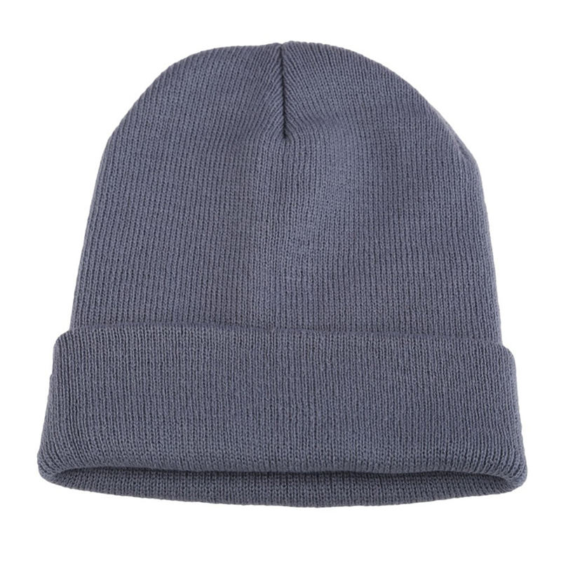 Free Sample Stock Fashion Plain Dyed Grey Winter Women Beanie
