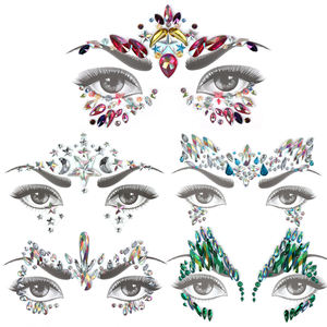 EP11 Glitter Face Jewels Temporary Tattoo Sticker Body Gems Gypsy Festival Adornment Party Face Decoration Tattoo Beauty Makeup