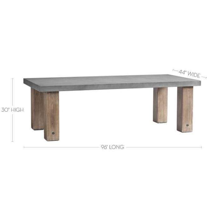luxury concrete topped long outdoor dining table