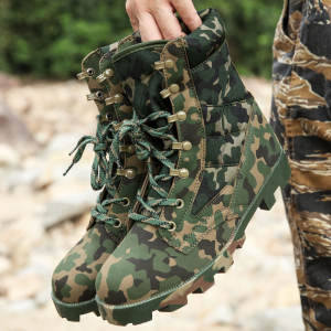 Rubber Outsole Material Army Hunting Camo Shoes Military Boot Infantry Combat Tactical Police Boots
