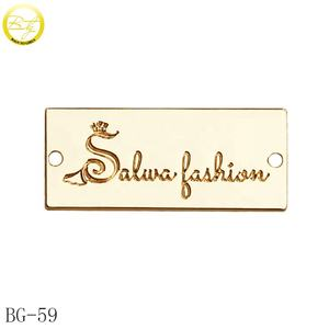 Custom metal logo brand garment label gold plated alloy metal name tags for jacket