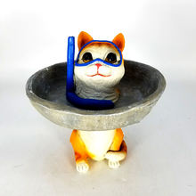 Outdoor Garden Decoration Polyresin Diving Cat Bird Bath