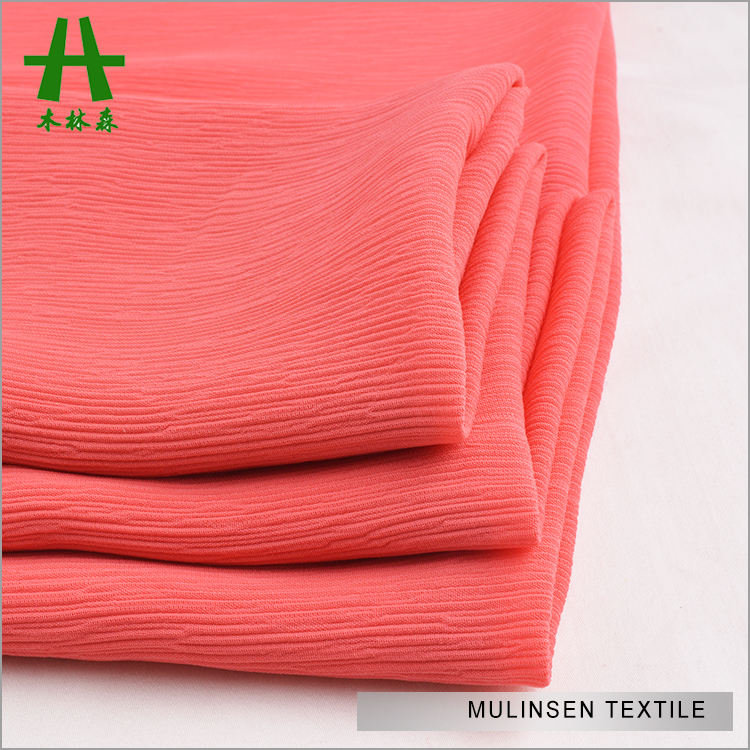 Mulinsen Textile Woven 100% Polyester 100D Crinkle Chiffon Crushed Crepe Fabric
