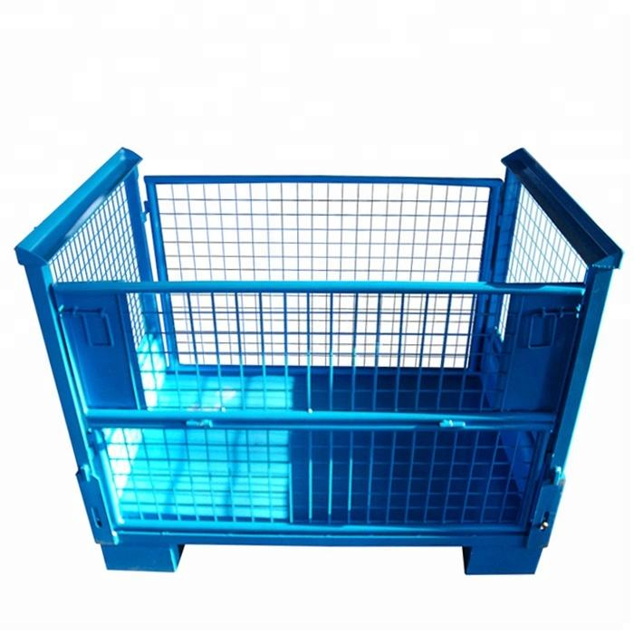 Huameilong industry warehouse collapsible folding stacking storage metal steel wire mesh pallet stillage cages