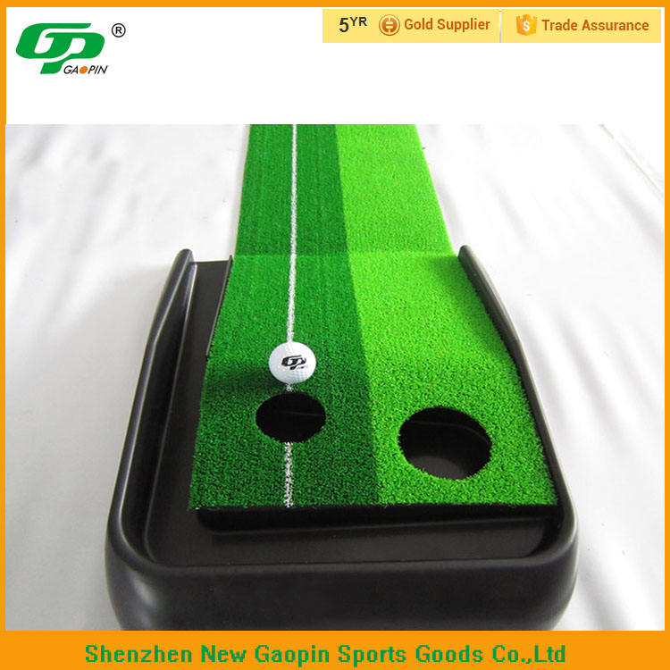Green color golf putting mat,Mini Golf Putting trainer with auto ball return