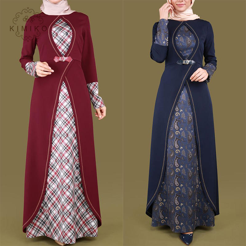 Latest Hot Sell Front Open Muslim Long Dress Fashionable Baju Kurung Muslim Women Dress