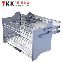 TKK Kitchen cabinet fitting cabinet basket wire drawer basket iron or stainless steel elevator pull down basket with soft-stop