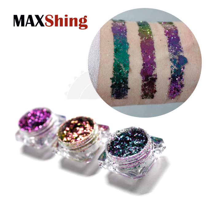 Cosmetic grade super chameleon flakes color shifting effect nail chrome flakes