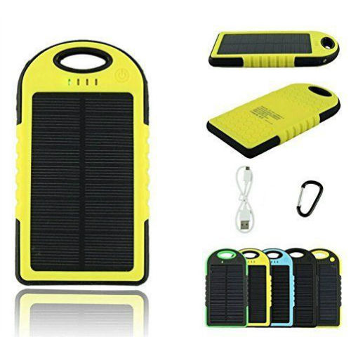 Portable Tahan Air Solar Power Bank 5000 MAh Dual USB Baterai Eksternal