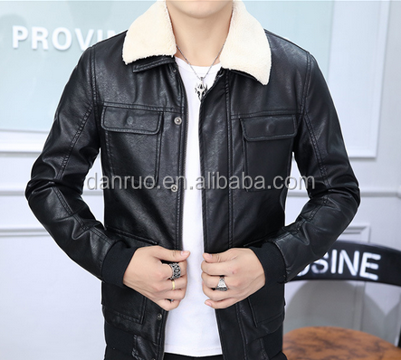 Men's fur winter new collar fur velvet thickening men's casual leather jacket pu leather jacket wholesale