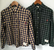 Cotton Brushed flannel shirts mens plaids checks flannels shirts