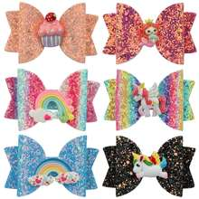 3 Inch Rainbow Gradient Magic Color Glitter Hairpins Unicorn Hairgrip Princess Sequin Shiny Girls Hair Bows