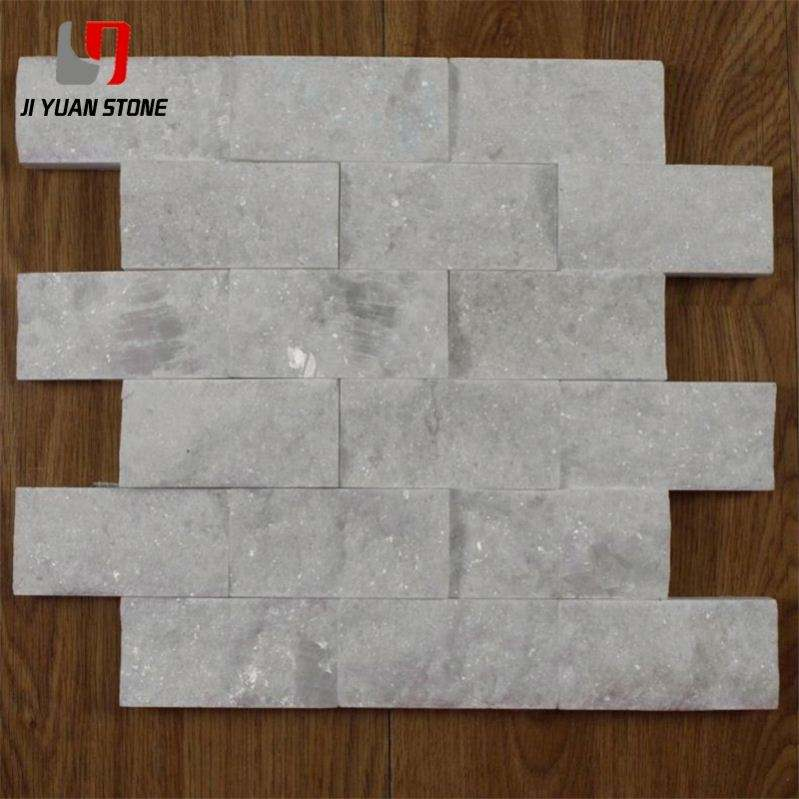 Lower Cost White Quartz Split Face Marble Stone Tile Mosaic For Wall Decoration