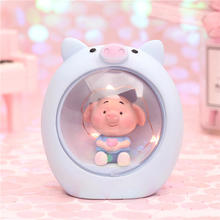 Bedroom creative small kids table lamp decoration girl heart room layout unicorn star led 3d  box lights for kids night light