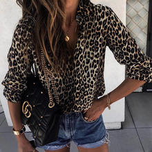 Womens V Neck Leopard Casual Print Tunic Long Sleeve Button Down Shirt Tops