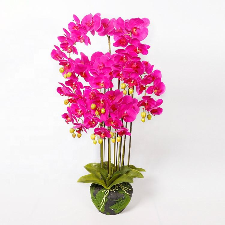 artificial phalaenopsis flower potted with long trunk and petals