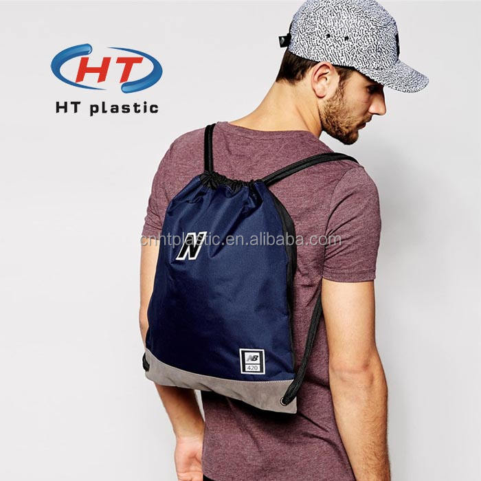 2017 China Factory For Promotion Imprint Customized Logo Shopping 1907 Nylon plastic drawstring backpack bag