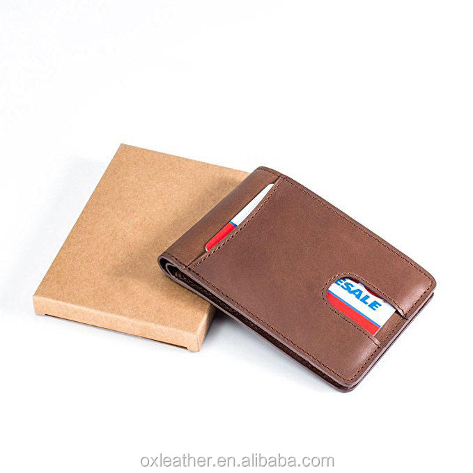 card holder rfid protection male wallets leather men Small Compact Bifold Leather Pocket