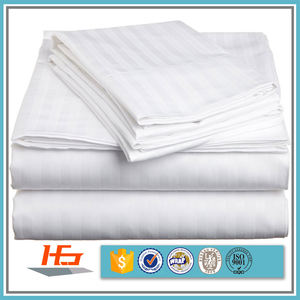 Wholesale Hotel Use 100% Cotton White Satin Flat Top Stripped Bed Sheet Queen Size