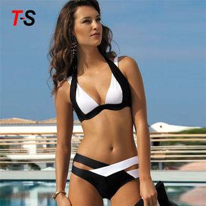 Wholesale 2 pieces Contrast color Cross Front Tape Sexy Hot Bikini Women Girl Swimwear for beachwear