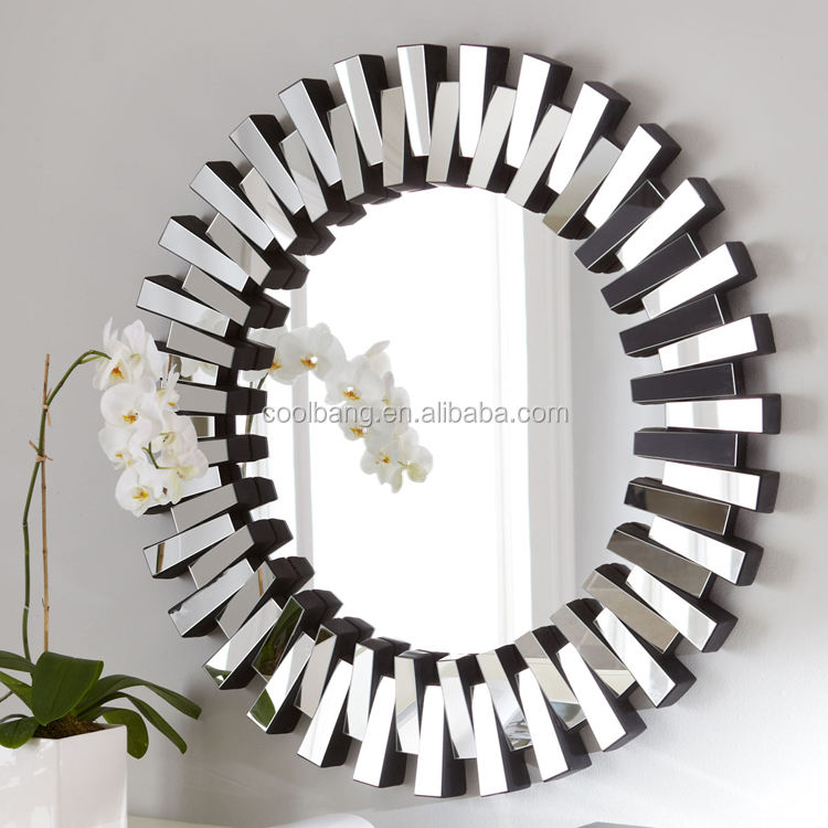 Antique sun shaped with silver leaf frame mirror strips wall