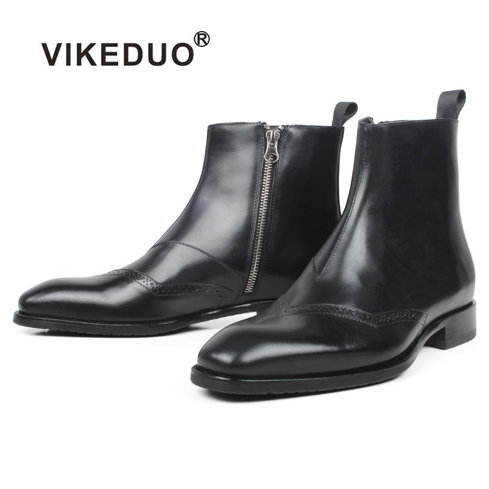 VIKEDUO Hand Made Mens Online Boutique Ankle Designer Boot Brogues Calf Leather Chelsea Men Black Boots Male