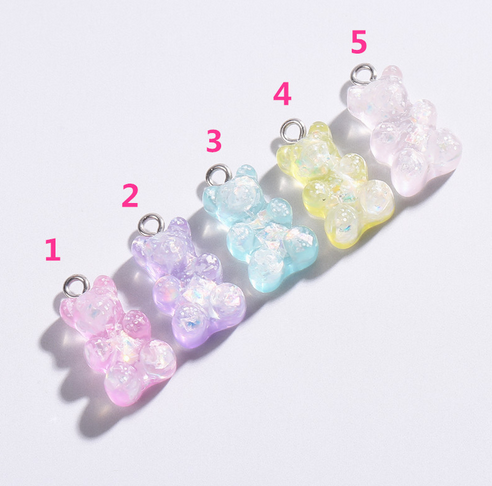 Lot Popular Cute 16mm Resin Gummy Bear Charm Pendant Flat Back Necklace Pendant Keychain Charms