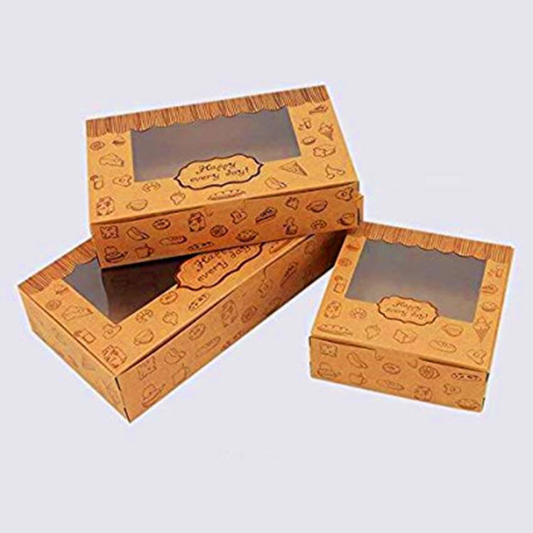 Food grade kraft paper box with window for cake and biscuit packing