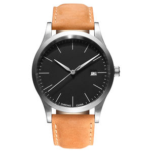 Customized Personalized Stainless Steel Genuine Leather Minimalist Wrist Watch with Your Logo