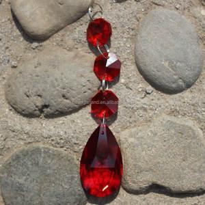 Populaire 14mm Clair Rouge Octogone Perles Cristal Guirlande K9 Verre Ornements De Mariage Arbre de Baisse