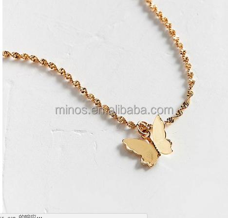 2020 Butterfly Pendant Jewelry Manufacturer Fashion Frasier Rose Gold Plated Butterfly Choker Necklace