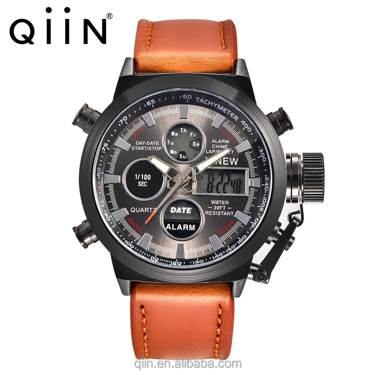 Multifunctional dual time waterproof digital man watch with alarm stop watch luminous back light