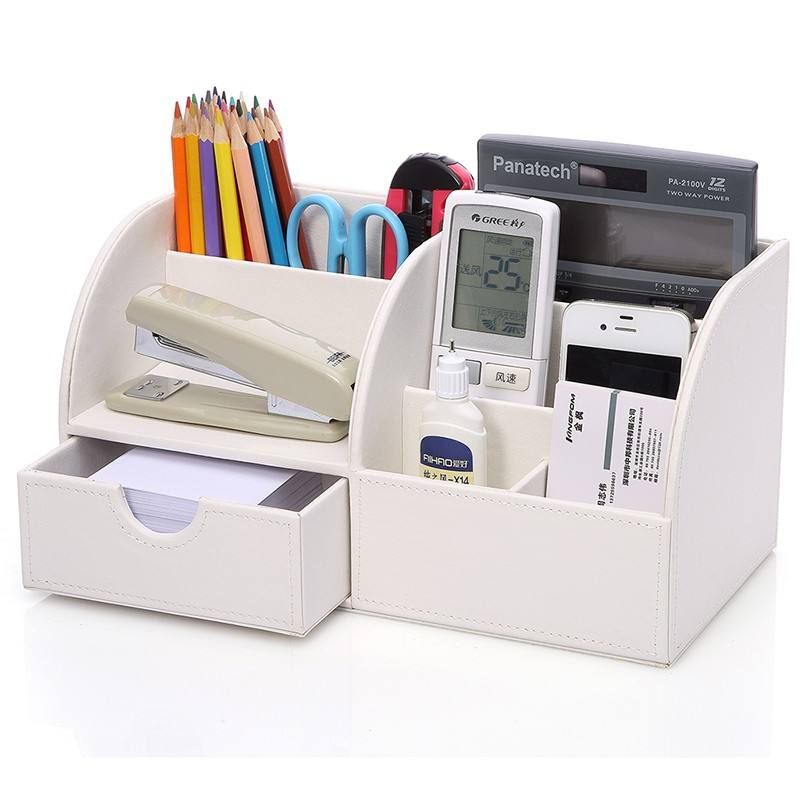 Custom white handmade PU faux leather desk office organizer