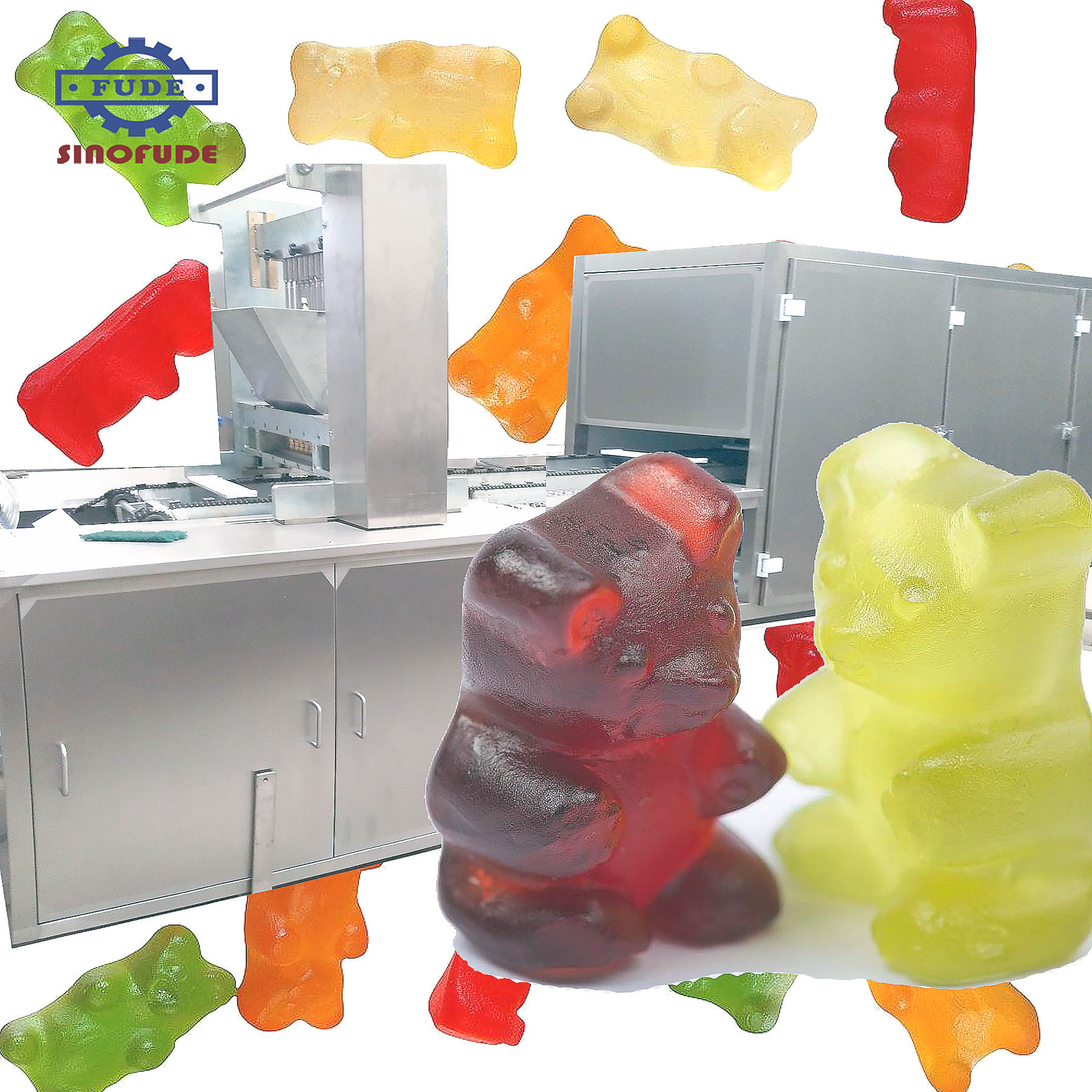 Gelatine pectine carrageenan gummy candy making machine gelei snoep productielijn