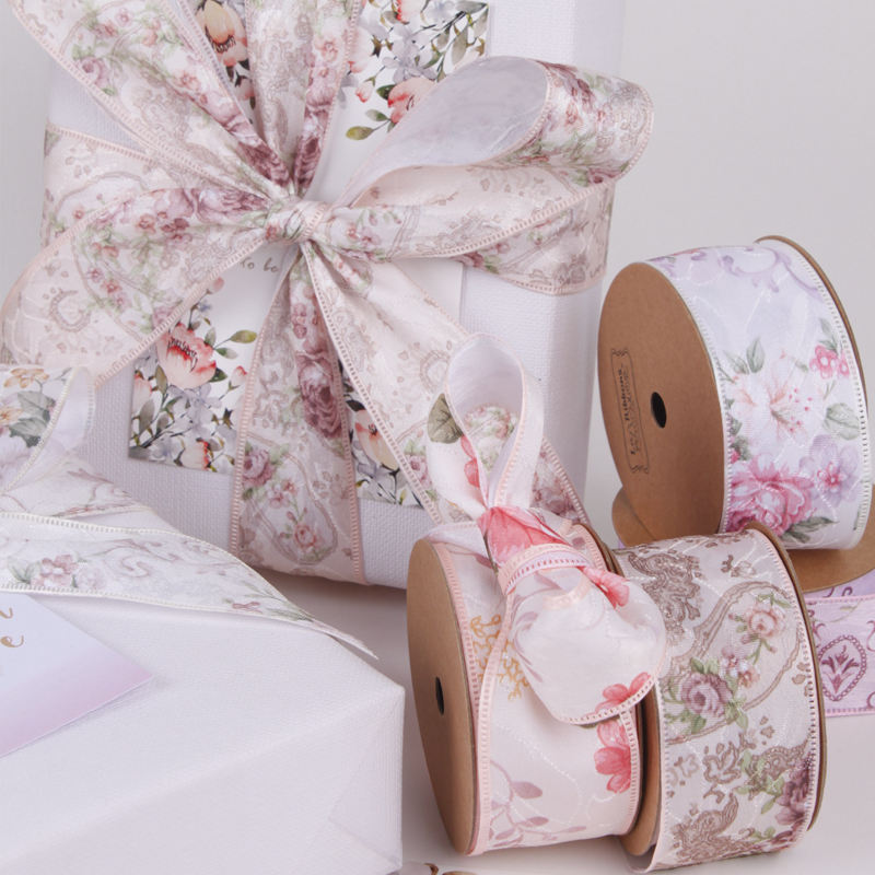 LaRibbons 40mm Wide Gift Packing Fabric Roll Retro Floral Printed Ribbon