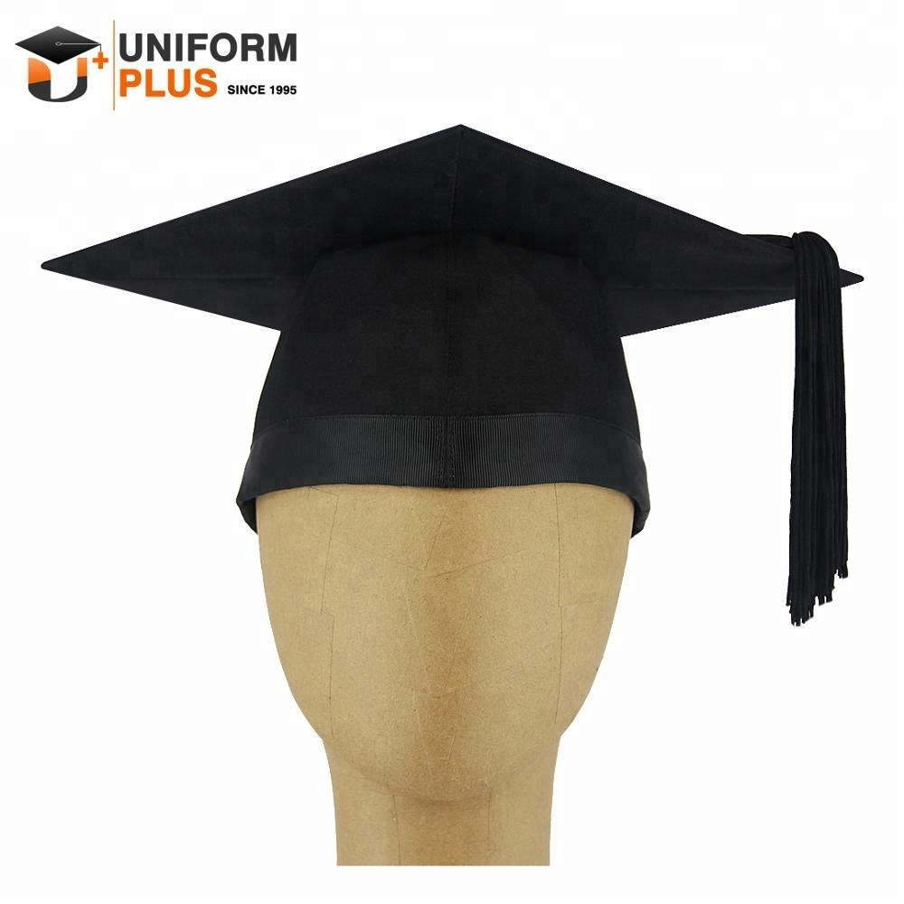 Wholesale customized UK university black bachelor master graduation hat trencher mortarboard graduation cap