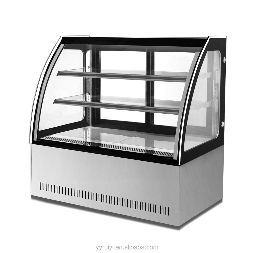 PEZO RY-CS1200S3 1200mm length arc glass cake display fridge