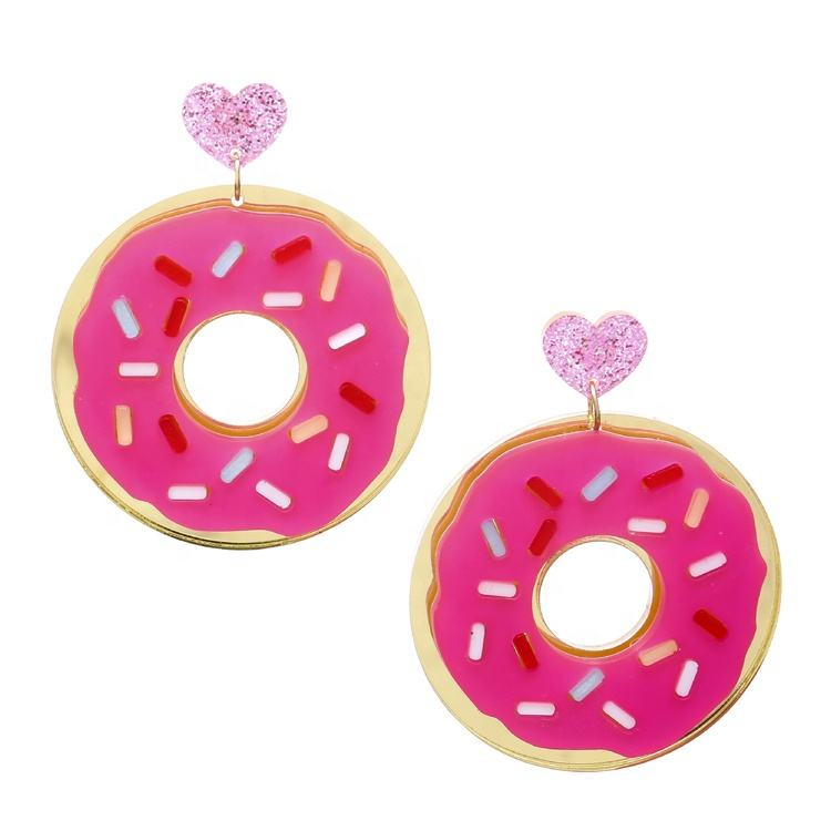 Glitter Heart Earrings Pos Hot Pink Donat Anting-Anting