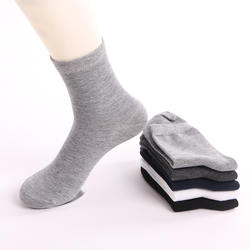 Wholesale cheap tube  plain color Polyester and cotton men socks