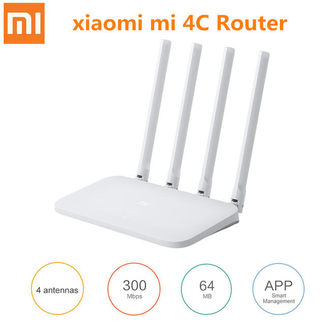 Original Mi Router 4C Wireless Router 300Mbps 4 Antennas 2.4GHzサポートWPA WPA2