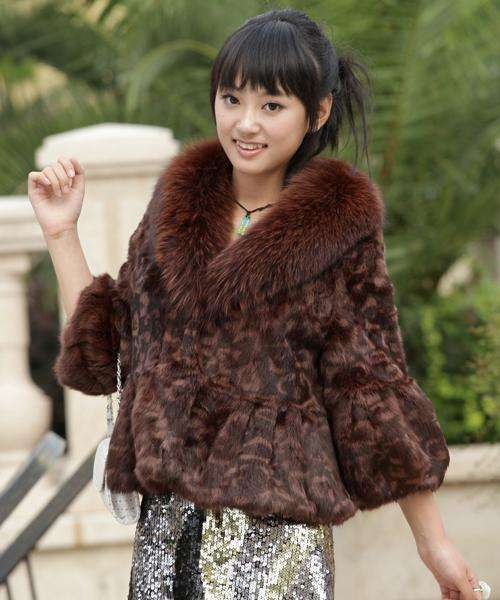 Rabbit Fur Coat with Fox Fur Collar