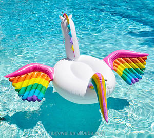 Customized adult swimming PVC toys Giant Inflatable Unicorn rainbow wings Pegasus Pool Float discount pool inflatables